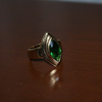 "Costume Ring with Green ""Stone"""
