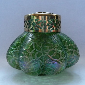 Kralik Art Nouveau Iridescent Rose Bowl - Art Glass