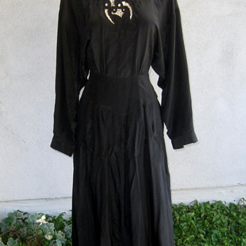 Vintage Sue Wong Black Silk Dress - Womens Clothing