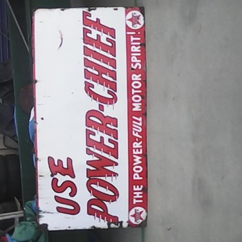 large power chief porcelain sign found in long closed motor garage in tasmania - Signs