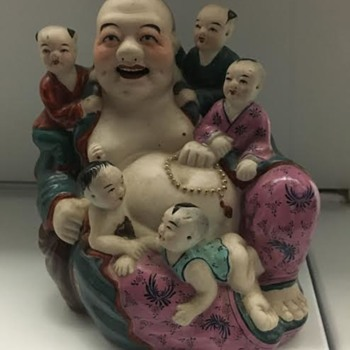 Antique Buddha Figurine w/5 babies