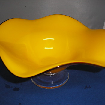 Yellow wave bowl from estate - Art Glass
