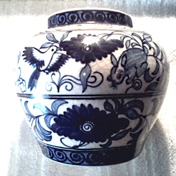 Chinese Blue and White Jar or Vase /Bird and Rabbit with Floral Designs/ Unknown Age