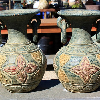 Pair of vases w/ ring handles - 60s? 70s? 80s? i can't tell... - Art Pottery