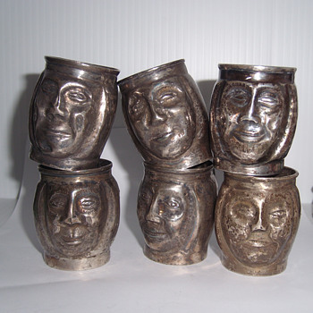 Vintage Metal Mini Trinket Character Head Cups With Handle - Kitchen