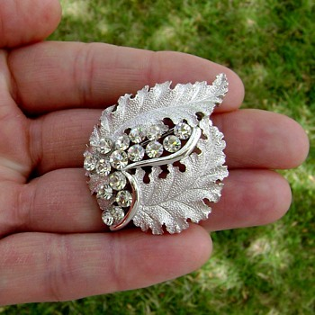 Crown Trifari Brooch - Floating White - Costume Jewelry