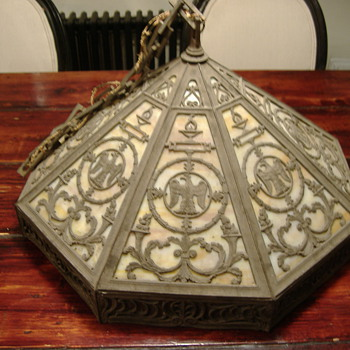 arts and crafts lamp shade eagle or falcon art nouveau - Lamps