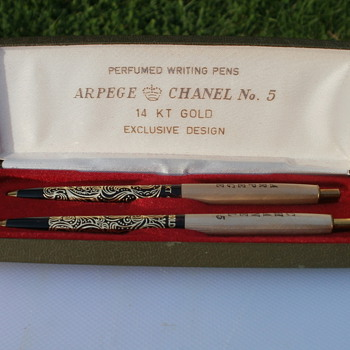14 kt Gold Filigree Chanel No. 5  and Arpege Perfumed Pen Set Questions