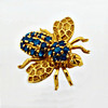 A 14k Gold Brooch Formed As A Bee & Set With Semi-Precious Blue Stones