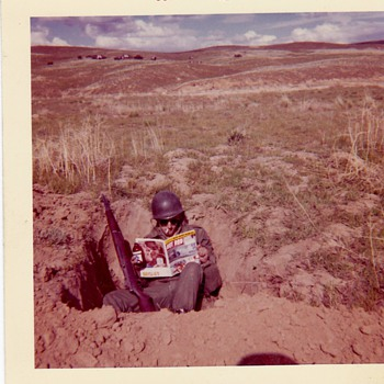Army life in the trench 1962 . Reading Hot Rod and a Having a Beer :-)  - Military and Wartime