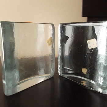 Blenko half-circle bookends - Art Glass