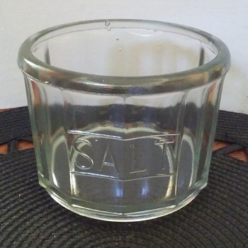 repro depression glass HOOSIER CABINET salt dip