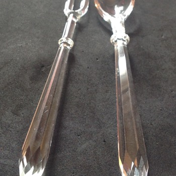 Facetted glass spoon and fork - Glassware