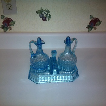 Blue Cruet Set   - Glassware