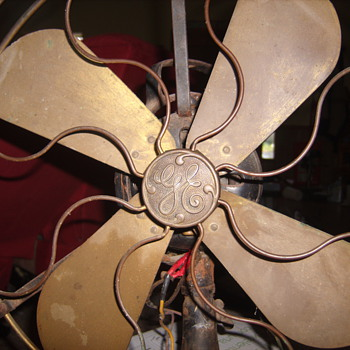 "Early 1900s GE 16"" brass fan & cage"