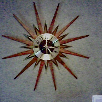 "Elgin Walnut or Teak Brass ""Sunburst"" / ""Starburst Clock"" /  Circa 1960's 1970's"