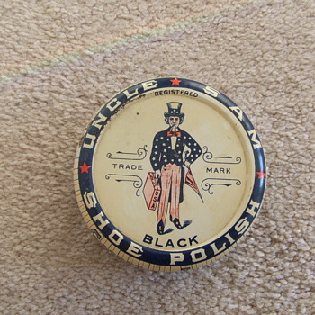Uncle Sam shoe polish with patriotic container - Advertising