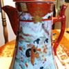 Beautiful vintage Japanese Kutani Chocolate Pot 1868-1913 11 inches, hand painted!