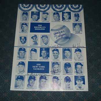 World's Series 1956 Brooklyn Dodgers VS. 1956 New York Yankees Signed