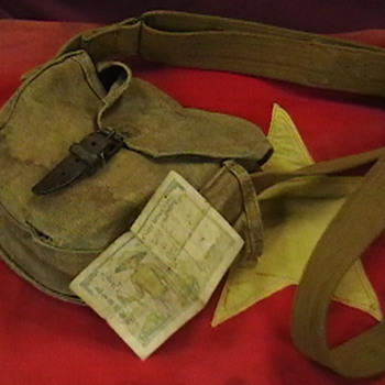 NVA Ammo Drum Pouch, and Battle Flag - Military and Wartime