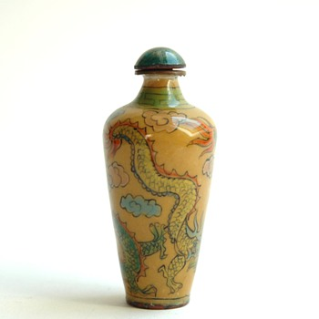 antique chinese snuff bottle in enameled copper.