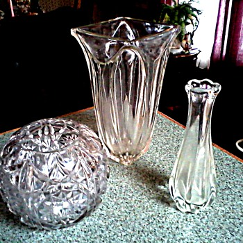 Glass Menagerie / 3 Heavy Clear Glass Vases / Unknown Makers and Age