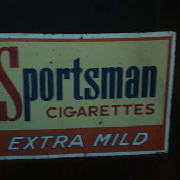 VINTAGE SPORTSMAN CIGARETTES ADVERTISING SIGN! NICE! - Advertising