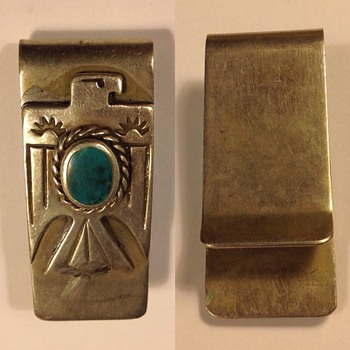 Silver Navajo (?) money clip, American Indian