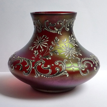 Bohemian Iridescent Enameled Ruby Red Vase - Art Glass
