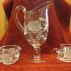 Etched glass pitcher, sugar & creamer