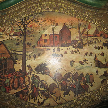 Tray with folk art painting