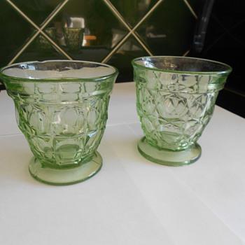 Vintage Uranium Glass Tumblers. - Glassware