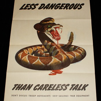 "Original WWII 1944 ""Less Dangerous Than Careless Talk"" Offset Lithograph"