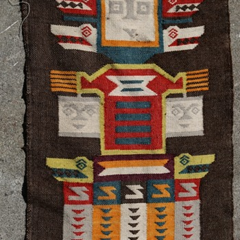 Two Long Panels with Human Totems / Figures - Rugs and Textiles