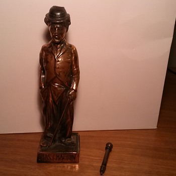 Early AMW Ronson Charlie Chaplin Bronze Finish Strike Cigarette Lighter