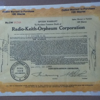 RKO Stock Certificate