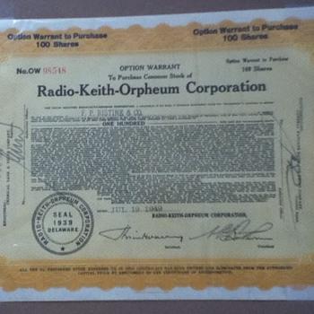 RKO Stock Certificate