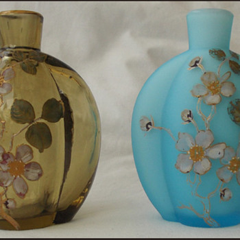 A TALE OF TWO VASES - HARRACH ? MINI VASES OR PERFUME BOTTLES - Art Glass