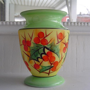 Czech - Enamel #5 Floral as folk  - Art Glass