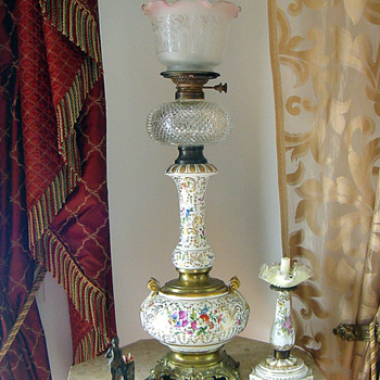 1880's German Porcelain Hand Painted Kerosene Lamp w Cut Font