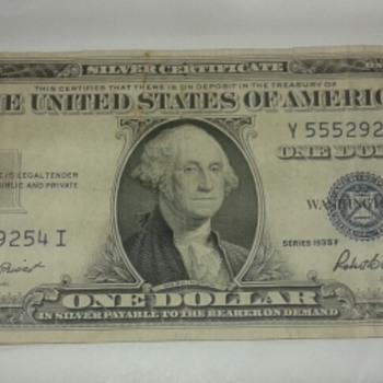 Series 1935 F  One dollar Bill -A