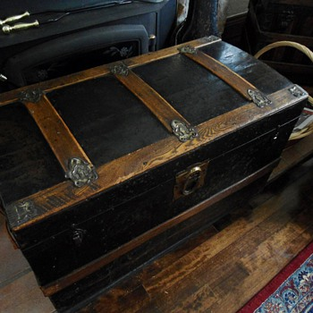 Antique Metal Clad Trunk - Furniture