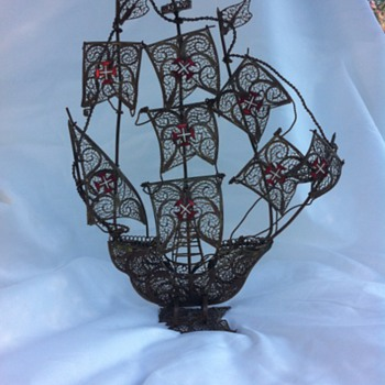 Filagree Sailing Ship - Folk Art