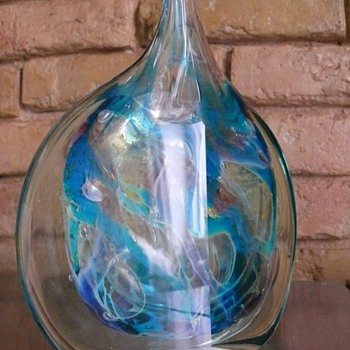 cut ice fish vase mdina - Art Glass