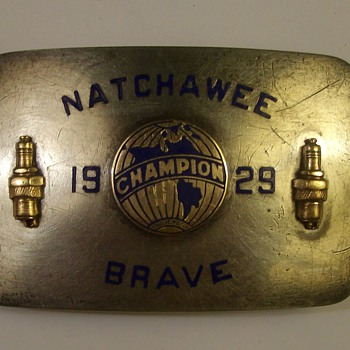 "1929 14k & Sterling Silver Champion Spark Plugs Belt Buckle Was An Award for ""Granddaddy"""