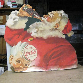 Old cardboard Coke / Santa sign - Coca-Cola