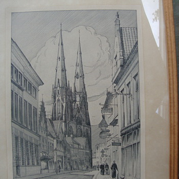 Etching of Eindhoven Cathedral/Gift to Herrn Major Klempin March 17, 1944 - Military and Wartime