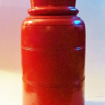 "Tall Wood Turned Vessel~17""h X 8""dia~Painted Red~Looks Old under paint~Special Purpose?"
