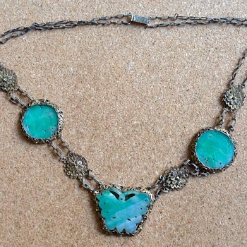Chinese Silver gilt Jadeite necklace - Asian