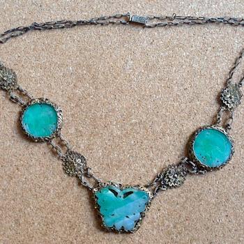 Chinese Silver gilt Jadeite necklace